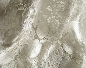 White Crocheted lace fabric, venise lace fabric, bridal lace fabric, retro flroal leaves fabric lace,