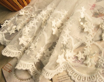 OFF White Embroidered lace trim with 3d stars  WSSR020
