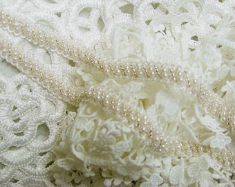 beaded lace trim, bridal sash, Bridal Belt, beaded jewelry Trim, Pearl Beading trim for Bridal Sash
