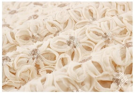 Ivory Chiffon Rosette Lace Fabrics Bridal Gown Dress Fabric