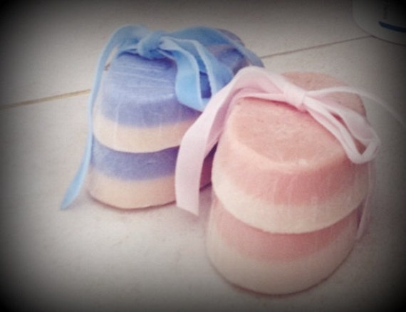 3 Ambrosial Peach Pale Blue or Light Pink Luxury Butter Peach Scented Soaps