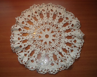 Lovely CROCHET Cotton DOILY, handmade home decor, shabby chic, cottage charm, table topper placemat supplies Vintage