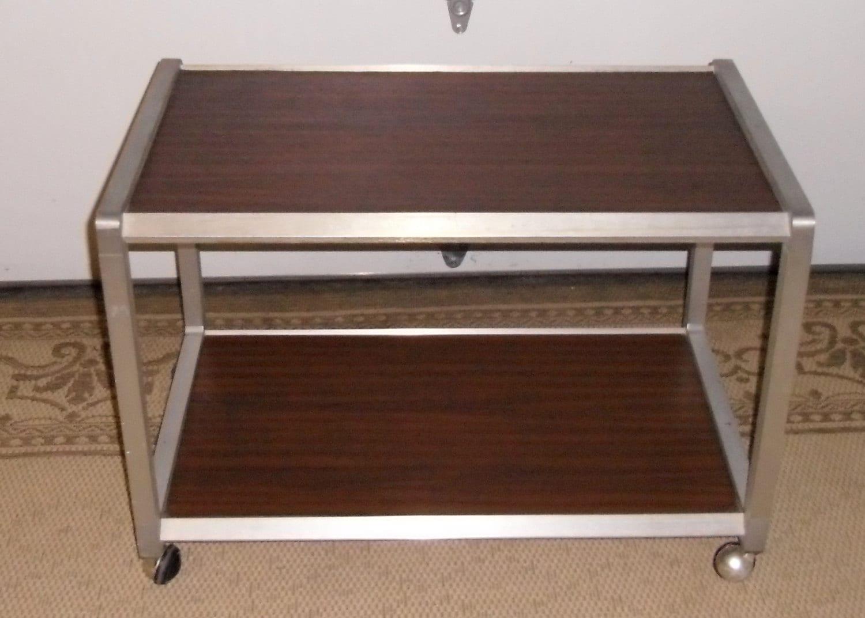 mid century bar cart chrome rolling cart vintage tv cart. Black Bedroom Furniture Sets. Home Design Ideas