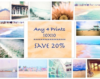 Any 4 10x10 Prints, Save 20%, DISCOUNT SET, Four 10x10 Photographs of Your Choice