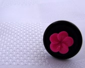 Button Ring - Black & Hot Pink Silver Plated Ring Base