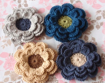 4 Crochet Flowers  In Multicolors YH-098-06