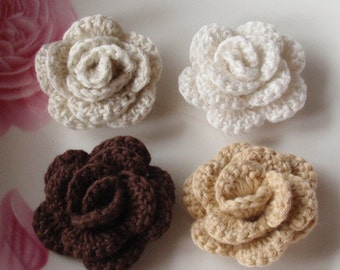 4 Crochet  Flowers Roses In 1-1/2 inches YH -137-02