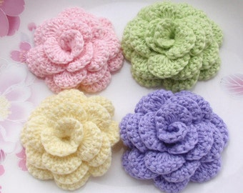 4 Crochet  Flowers Roses In 2 inches YH -142-13
