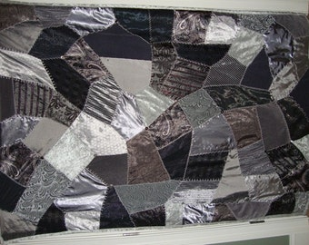 gray or silver crazy quilt