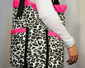 White, Black and Grey Leopard Print with Hot Pink Grab it and Go Bag