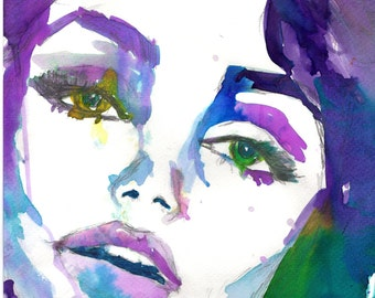 Isabella by Jessica Buhman, Print of Original Watercolor Painting, 8 x 10 Dramatic Vogue Purple Green Blue Pink