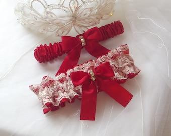 Wedding Garter Set - Red Garters with Ivory Raschel Lace Overlay