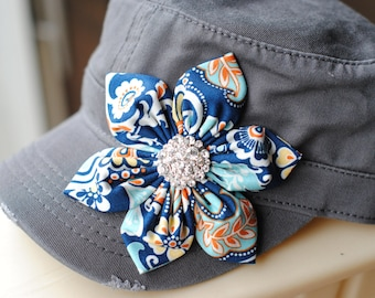 womens cadet hats, womens Distressed Military Cadet flower hat.