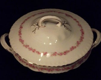 Covered Vegetable DIsh with Pink Roses by Victoria Austria