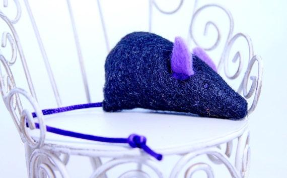 Catnip Mouse, Felt Cat Toy, Pet Toy: black felt, purple ears, purple Tail, mouse, Halloween cat toy, halloween mouse