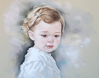 Custom Pastel portrait of a baby girl. Baby portrait