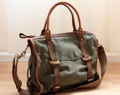 Army-green Canvas-Leather Tote/ Shopping bag / Shoulder Bag/ Woman bag/ Leather Satchel/ Canvas bag - KilikiliOrigional