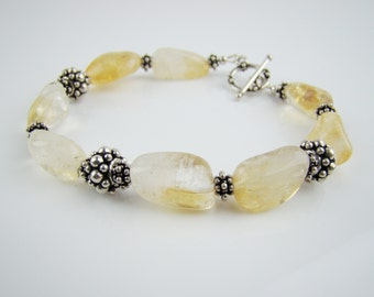 Citrine chunky bracelet, 925 sterling silver, handcrafted jewelry, November birthstone, 7PM boutique