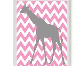 Giraffe Nursery Art Print - Chevron Pink Gray Decor - Children Kid Baby Girl Room - Wall Art Home Decor