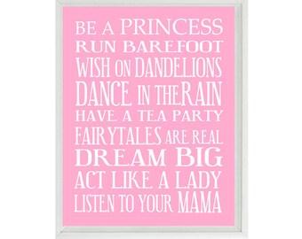 Girl Nursery Art - Subway Art - Typography - Toddler Baby Girl Rules - Playroom Room Wall Art Print Poster
