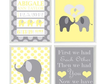 Nursery Art Print Birth Stats - Personalize Baby Name - Elephant Yellow Gray - Polka Dots - Baby Room - Custom Wall Art -