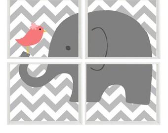 Elephant Nursery Art Chevron Bird - Gray Coral Pink - Print     - Baby Girl Children Kid room - Wall Art Home Decor