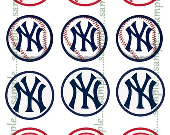 INSTANT Download!! New York Yankees  Bottle Cap Images- DIGITAL or PRINT-Tags-Cupcake Toppers-Scrapbooking and More.
