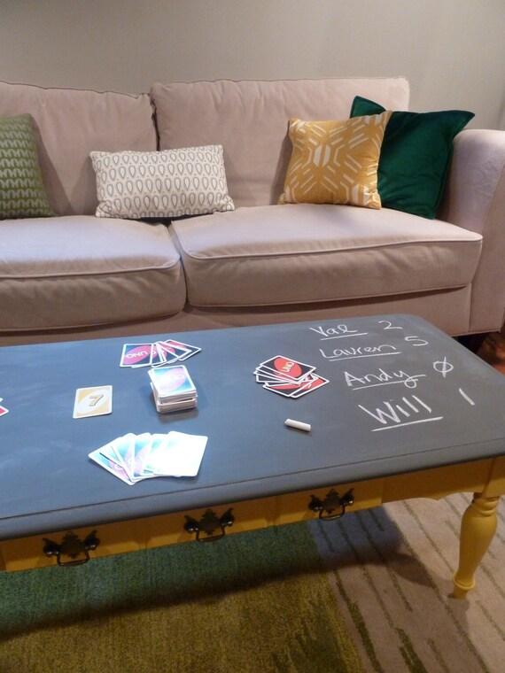 Chalkboard Coffee Table Yellow And Charcoal