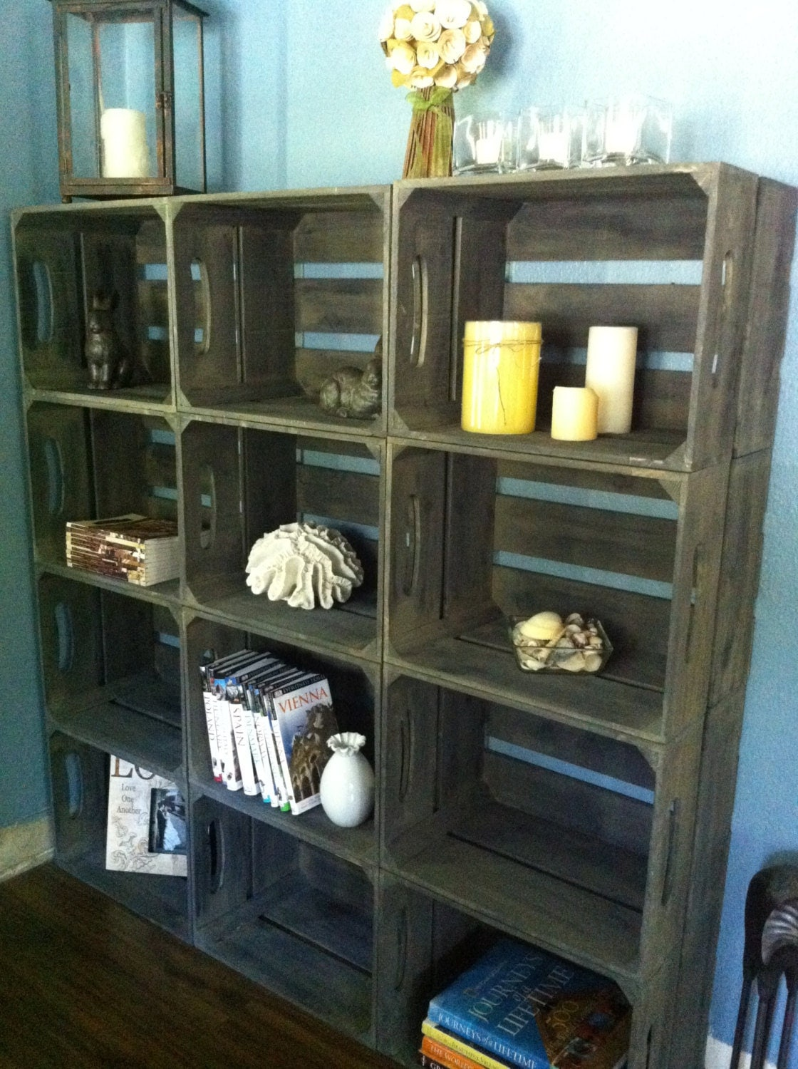 15pc rustic wooden apple crate bookshelf with by. Black Bedroom Furniture Sets. Home Design Ideas