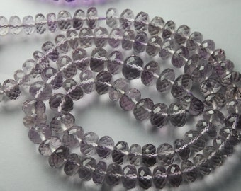 8 Inches Super Finest Natural Light Pink Amethyst Micro Faceted  Rondelles 6-8mm