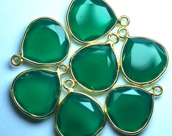 925 Sterling Vermeil Silver Green Onyx Faceted Heart Shape Pendant,2 Piece of 20mm