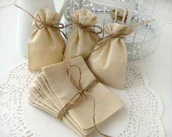 Muslin favor bags - Set of 10- Wedding favor bags -DIY wedding favor bags-Baby Shower