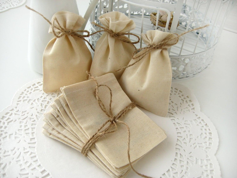 Wedding Favor Muslin Bags : Muslin favor bags Set of 10 Wedding favor bags DIY wedding