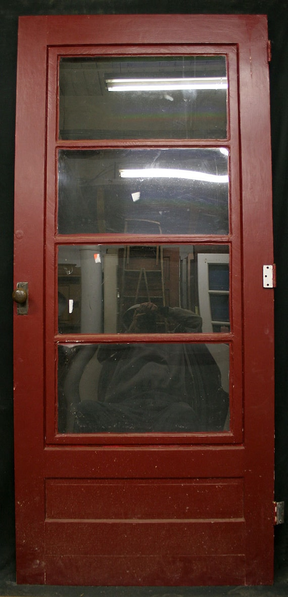 Wood Screen Doors With Removable Screens : Vintage wood exterior entry storm screen door window