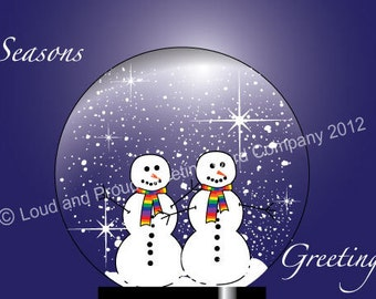 Two Snowmen in water globe with rainbow scarves