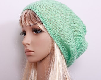 Slouchy Beanie Hat Spring Mint Handknit Oversize