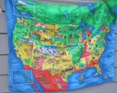 U.S.A. Map Quilt - Perfect Gift for Teachers - Bright Colors with Star Background - Washable United States Map