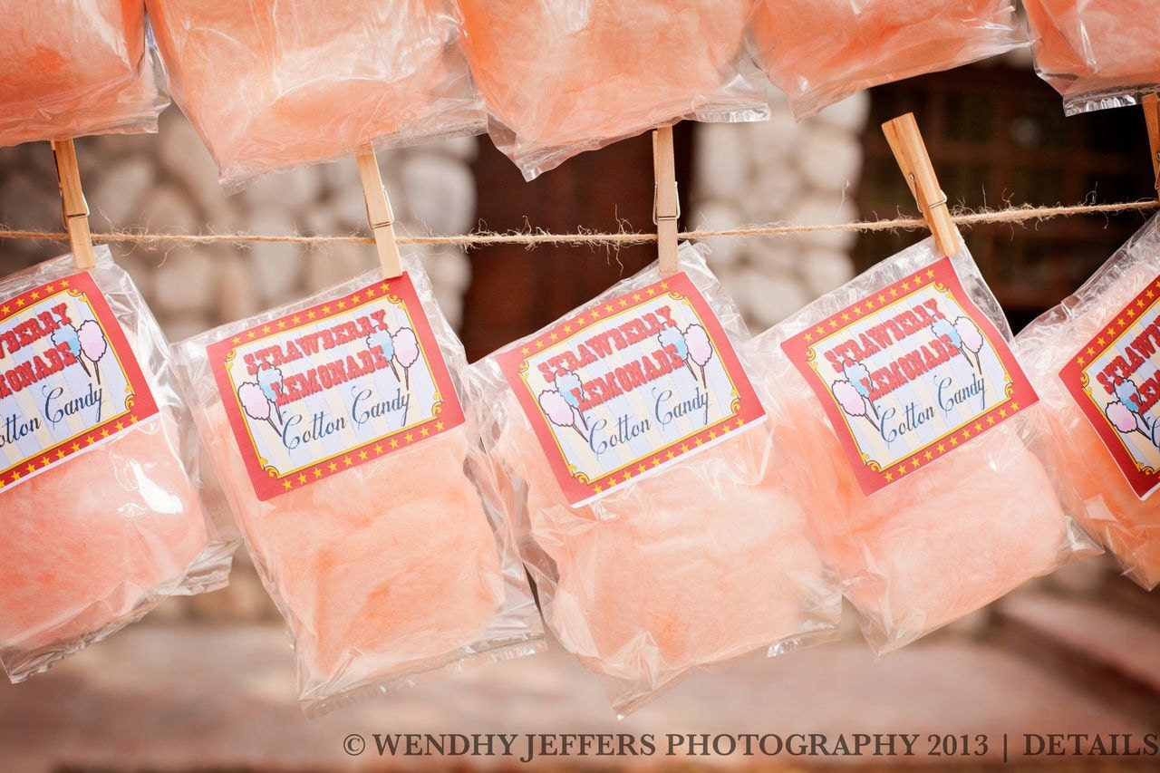 Wedding Fair Gift Bag Ideas : Cotton Candy Party Favors with Custom Label