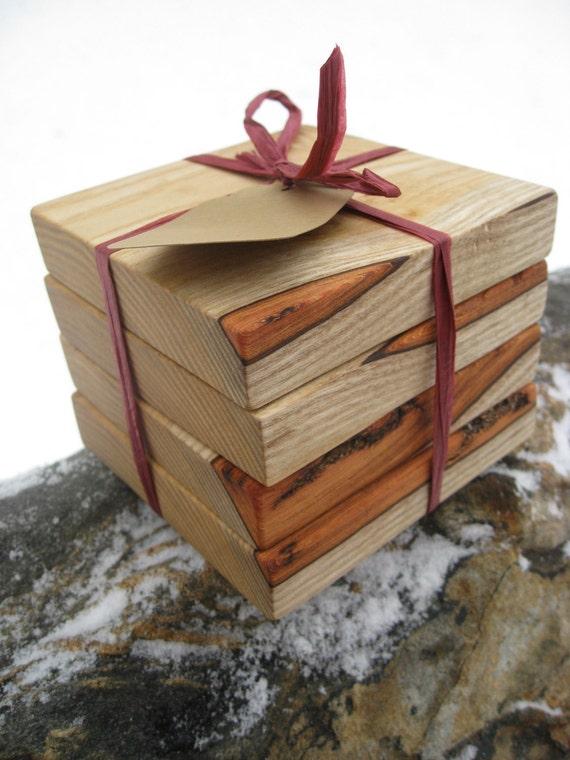Rustic Sassafras Wood Drink Coaster Set. Set Of 4. Wedding Gift, Groomsman, Birthday, Anniversary, Groom.