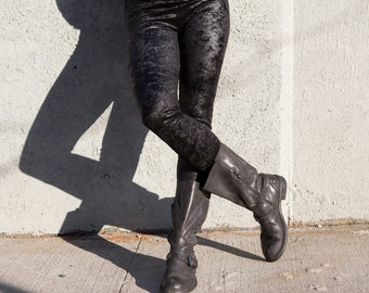 Metallic black velvet leggings