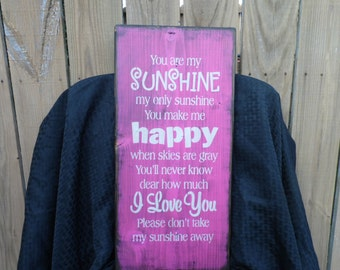wooden sign, wall decor, you are my sunshine, subway art, wall hanging