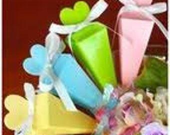 12 Elegant Pastel Color Cone Favor Boxes