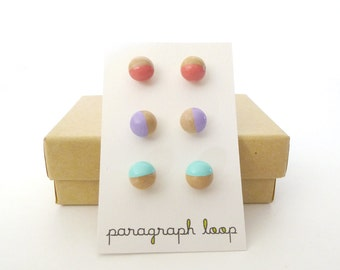 Peach, lavender and mint green earring set, button post earrings, little studs, colorful earrings, gift for her