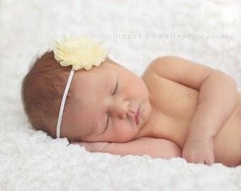 Buttercup Shabby Chic Headband..Newborn Headband..Baby Girl Headband..Headband..Infant Headband..Baby Headband..Rosette Flower Headband