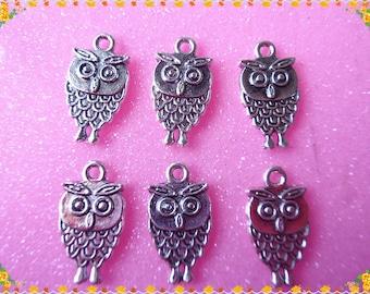 12 pcs-antique silver  Small owls Charm  pendants  11x20mm
