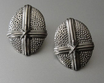 Vintage Oval Industrial Metal Stippled and Layered Crossover Design Surgical Steel Post Earrings by 1928 Made in USA