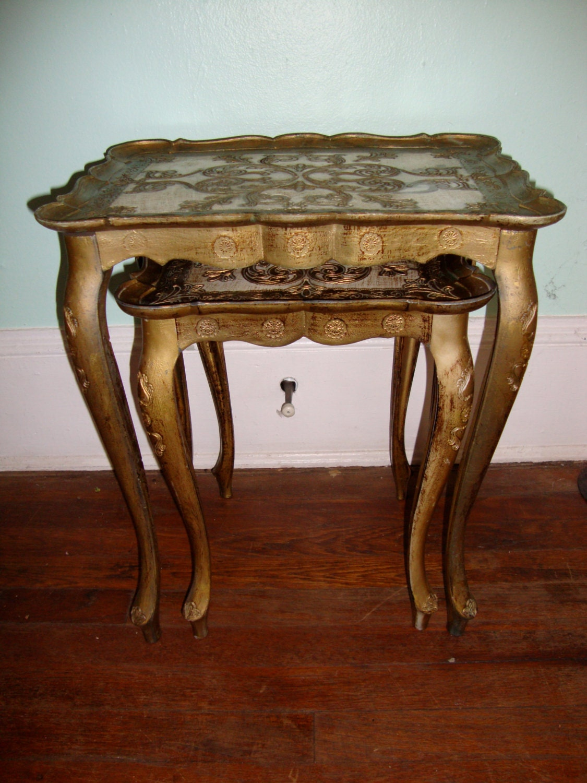Vintage Nesting Tables ~ Pair of vintage italian nesting tables by bobsfindsndesigns