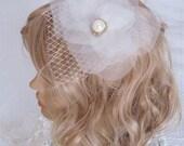Wedding hair piece flower accessory- ivory flower bridal headpiece - Wedding Hair Accessories - vintage wedding