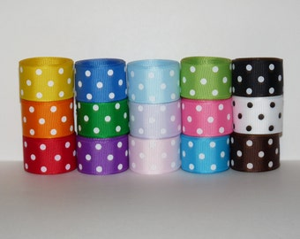 """7/8"""" (22mm) Polka Dot Grosgrain Ribbon Lot (Choose 1 or 2 Yards Each of 15 Different Colors)"""
