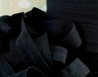 5yds Elastic Ribbon Fold Over  Black Matte Baby HeadBands  1/2 inch FOE  Stretch Trim elastic by the yard